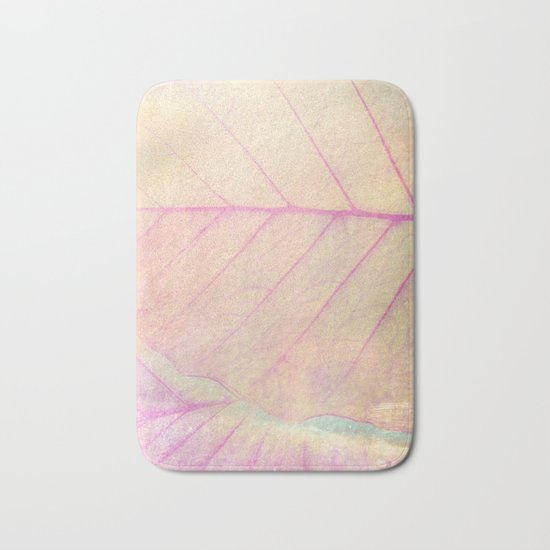 Pink Leaf Abstract Bath Mat