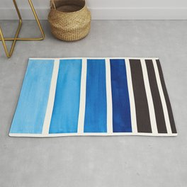 Prussian Blue Minimalist Watercolor Mid Century Staggered Stripes Rothko Color Block Geometric Art Rug