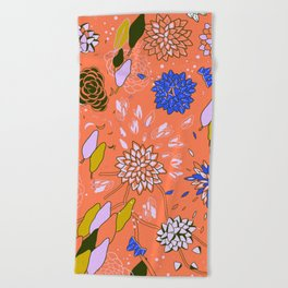 Orange Flower Pattern Beach Towel