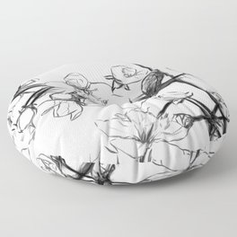 Cherry Blossoms Minimal Drawing Floor Pillow