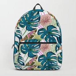 Dark turquoise monstera, delicate peach and yellow flowers. Backpack
