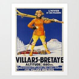 retro old villars bretaye poster Art Print