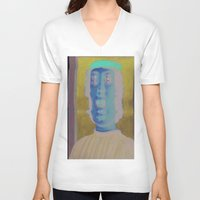 renaissance V-neck T-shirts featuring The Renaissance Glitch Gaze by Norms
