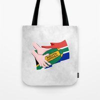 south africa Tote Bags featuring South Africa Rugby by mailboxdisco