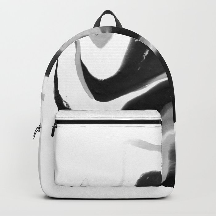 If On A Winter's Night A Traveller Goes to World's End, Marbling Black and White Cirle Backpack