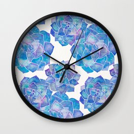 Rosette Succulents – Blue Palette Wall Clock