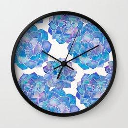 Rosette Succulents – Blue Palette Wall Clock