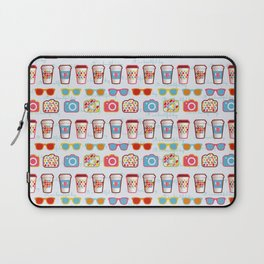 Coffee cup pattern - sunglasses - photocamera - colorful hipster pattern - have a nice day Laptop Sleeve