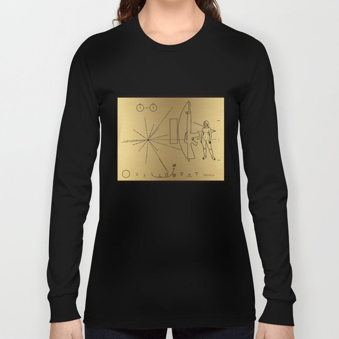 We Come With Piece (Pioneer probe plaque) by Dan Levin Long Sleeve T-shirt