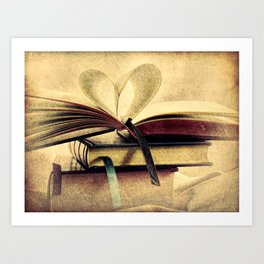 Book Heart Library Modern Cottage Chic Modern Country Art A448 Art Print