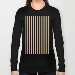 Tan Brown and Black Vertical Stripes Long Sleeve T-shirt