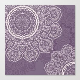 Mandala Tulips in Lavender ad Cream Canvas Print
