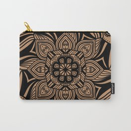 Beige and Black Geometric Mandala Carry-All Pouch