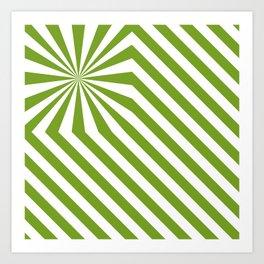 Stripes explosion - Green Art Print