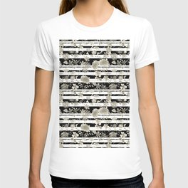 The floral pattern on striped background. T-shirt