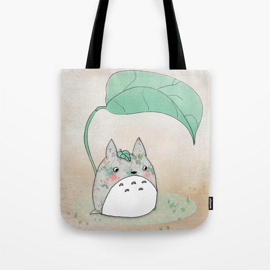 Floral Totoro Tote Bag