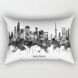 Seoul South Korea Skyline BW Rectangular Pillow