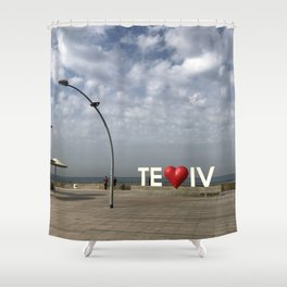 Tel Aviv Port Photography - TE(love)IV Sign Shower Curtain
