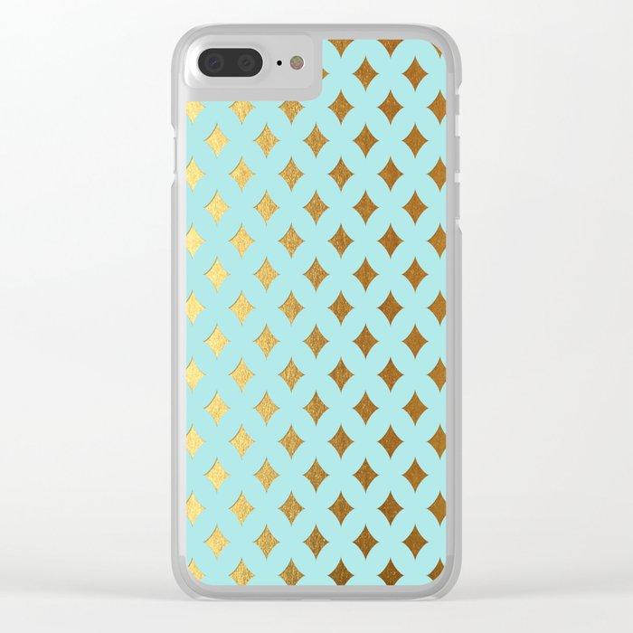 Queenlike - aqua and gold elegant quatrefoil ornament pattern Clear iPhone Case