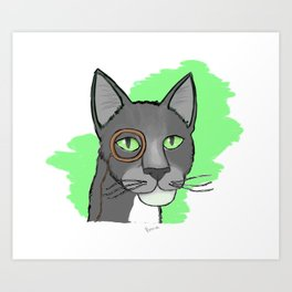 Cat With Monocle Art Print