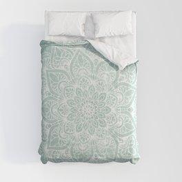 Mandala, Yoga, Love, Flower of Life, Teal Green Comforters