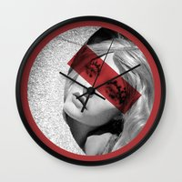 band Wall Clocks featuring Red band by SpaceoperaImage