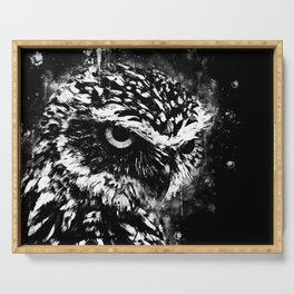 burrowing owl splatter watercolor black white Serving Tray