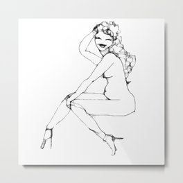 Girl in high heels Metal Print