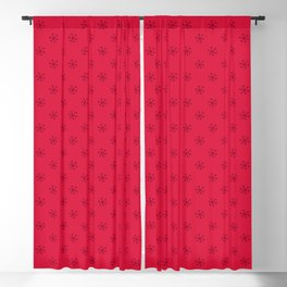Burgundy Red on Crimson Red Snowflakes Blackout Curtain