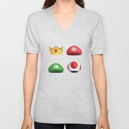 Super Mario Character Hats Unisex V-Neck