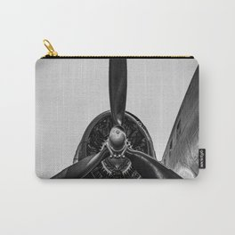 Airplane Propellor Vintage Flight Aircraft Wing Black White Print Carry-All Pouch