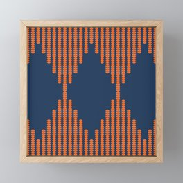 Moon Phases Pattern in Navy Blue and Burnt Orange Framed Mini Art Print