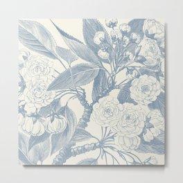 Floral Rose, Vintage Print, Botanical, Blue Metal Print