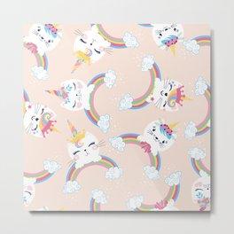 Cute unicorn cat seamless pattern for kids Metal Print