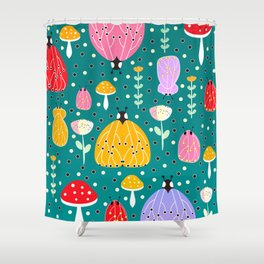 Bugs and mushrooms Shower Curtain