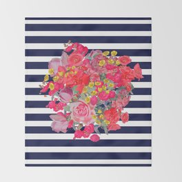 Vintage Floral Burst Print with Navy Stripes Throw Blanket