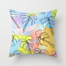 Live This Moment no.1 - illustration palm tree pattern summer tropical beach California pastel color Throw Pillow