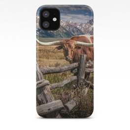 Texas Longhorn Steer with Wood Log Fence in Wyoming Pasture iPhone Case