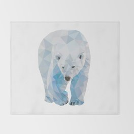 Geometric Polar Bear Throw Blanket