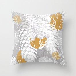 White Spruce Cones With Golden Balls Winter Illustration #decor #society6 #buyart Throw Pillow