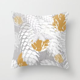 White Spruce Cones With Golden Balls Winter Illustration #decor #society6 #buyart Throw Pillow