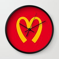 moschino Wall Clocks featuring Moschino McDonald's Inspired Logo by V.F.Store