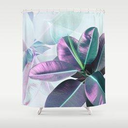 Violet Tropical Plant Shower Curtain