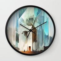 in the flesh Wall Clocks featuring The Crystal-Flesh Hermitage by Mark Facey