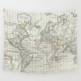 Vintage Map of The World (1784) Wall Tapestry