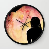 mother of dragons Wall Clocks featuring Mother of Dragons Silhouette over Red + Yellow by Jessica Barst