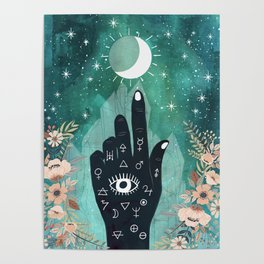 Alchemy hand and moon Poster