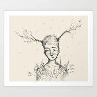 Sad Tree Boy Art Print