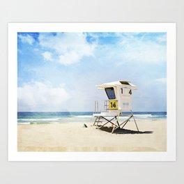 California Beach Photography, Lifeguard Stack Shack San Diego, Coastal Photograph Art Print