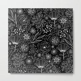 Floral pattern Black and White 3 Metal Print